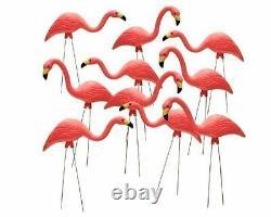 10 Pack 27 Pink Flamingos Plastic Yard Garden Lawn Art Ornaments Retro Statue