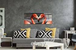 125x50cm Wall Art Glass Print Picture Animals Photo Flamingos Birds Love p39627