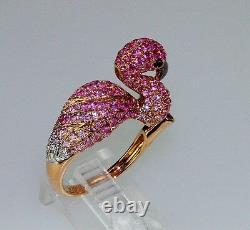 18k ROSE GOLD DIAMOND RUBY PINK SAPPHIRE STATEMENT FLAMINGO BIRD ANIMAL RING
