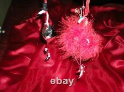 2 PINK in RED ATTIRE FLAMINGO HOLIDAY NEW YEARS EVE CHRISTMAS PARTY ORNAMENTS