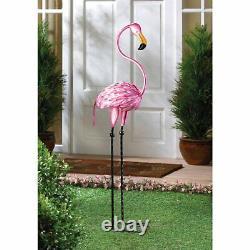 2 Pretty Pink Tropical Flamingo Tango Metal Garden Statue 35.6 Indoor Outdoor