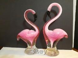 2 Venetian Art Glass Pink Flamingo's, Murano Home Decor. Hand Blown Figurine