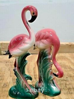2 Vintage Retro Art Deco Pink Flamingo Ceramic Figurines 8 and 6 Unmarked
