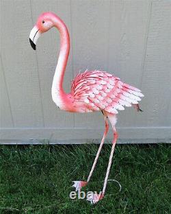 39 Tall Freestanding Metal Pink Flamingo Beach House Yard Garden Art Statue