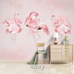3D Pink Flamingo Bird Luxury Wall Mural Wallpaper Living Room Bedroom Lounge