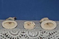 3 Vintage PORCELAIN Ceramic PINK FLAMINGOS Mid Century Modern Bright Shiny EX+