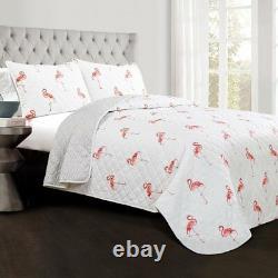 3pc KING Quilt Set FLAMINGO reversible Pink Kelly Coastal Tropical Bedding Bird