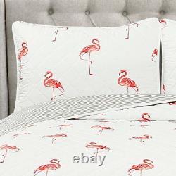 3pc Queen Quilt Set FLAMINGO reversible Pink Kelly Coastal Tropical Bedding Bird