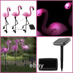 3pc Solar Flamingo Set Pink Flamingo Patio Lighting Garden Deco Ornament Light
