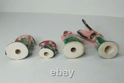 4 Vintage 50s Mid Century Pink Flamingo Ceramic Figurines Standing Flying