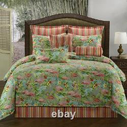 4pc pink/blue/green flamingo bird Design Comforter Set King