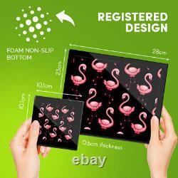 4x Glass Placemates & Coasters Cute Pink Flamingo Bird #2075