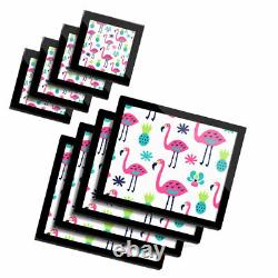 4x Glass Placemates & Coasters Cute Pink Flamingo Tropical Bird #12684