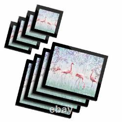 4x Glass Placemates & Coasters Pink Flamingo Birds in Nature #24012