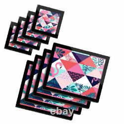 4x Glass Placemates & Coasters Pink Flamingo Tropical Bird #12886