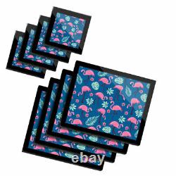 4x Glass Placemates & Coasters Tropical Flamingo Birds Pink Summer #8461