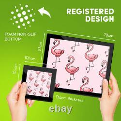 4x Glass Placemates & Coasters Tropical Pink Flamingos Bird #2081
