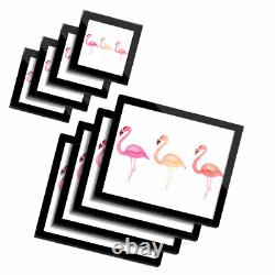4x Glass Placemates & Coasters Watercolor Pink Flamingo Birds #8141
