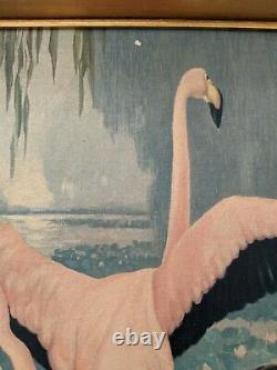 50's Jessie Arms Botke Lithograph Print On Board Framed Pink Flamingos