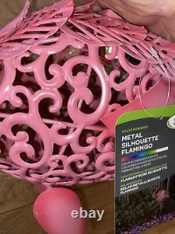 75cm Metal Pink Silhouette Solar Garden Pond Flamingo Party Ornament Decoration
