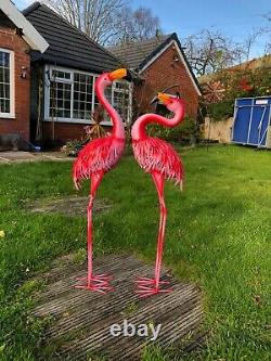 90 cm Metal Pink Garden Pond Flamingo Party Ornaments Decoration free standing