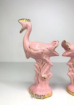 Art Deco Pink Flamingo Bird Ceramic Pair Vintage 20s 30s 40s 50s MCM Tropical