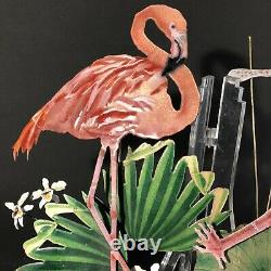 BOVANO OF CHESHIRE Flamingo Birds on Lily Pad Enamel On Metal Wall Art Sculpture