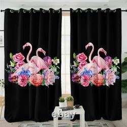 Black Flamingo Pink Floral Animal Bird Window Living Room Bedroom Curtains Drape