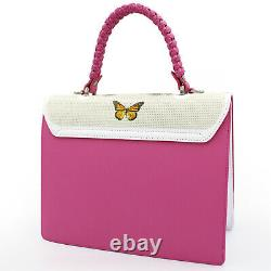 Braccialini Made in Italy designer pink & white leather handbag bag flamingos