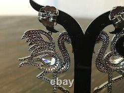 CZ by Kenneth Jay Lane Black Rhodium Cubic Zirconia Flamingo Dangle Earrings