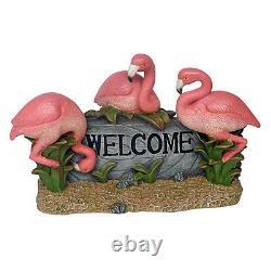 Coastal Trio of Pretty in Pink Flamingos Posing Home Garden Welcome Sculpture