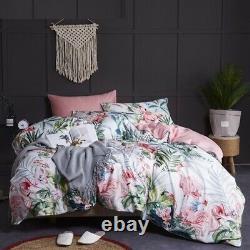Cotton Bedding Set Flamingos Bird Pink Floral Leaf Print Pure Soft Duvet Cover