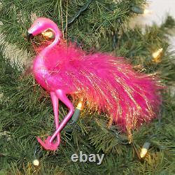 De Carlini Fuchsia Flamingo Glass Ornament Italian Bird Beach Zoo A2004nm