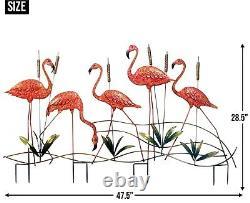 FLOCK OF FIVE (5) FLAMINGOS & CATTAILS IRON GARDEN STAKE 47.5 x 28.5 NIB