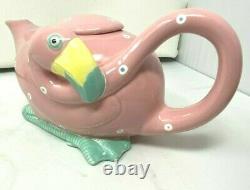 Fitz and Floyd Pink Flamingo Bird Teapot RARE 1985