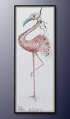 Flamingo 80, animal bird oil painting, pink colors, handmade item, modern art