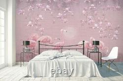 Flamingo Animals Birds 3D Wall Mural Australia Bedroom Wallpaper Murals