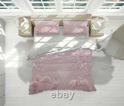 Flamingo Animals Birds Pink Quilt Cover Set with Zipper And Pillowcase