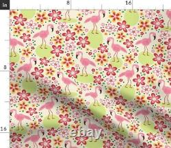 Flamingo Bird Floral Tropical Florida Pink Sateen Duvet Cover by Roostery