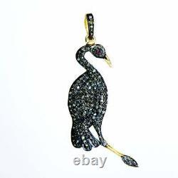 Flamingo Bird Pendent Natural pave diamond ruby Gemstone 925 Silver jewelry DJ