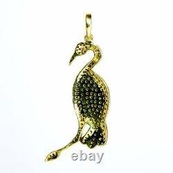 Flamingo Bird Pendent Natural pave diamond ruby Gemstone 925 Silver jewelry SE
