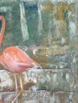 Flamingo Bird Pink Original Oil Painting Nature Water Wildlife Art Animal Decor