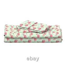 Flamingo Bird Pink Teal Flamingos 100% Cotton Sateen Sheet Set by Roostery