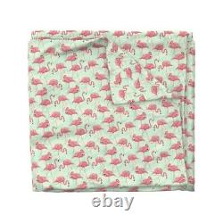 Flamingo Bird Pink Teal Flamingos Tropical Jungle Sateen Duvet Cover by Roostery