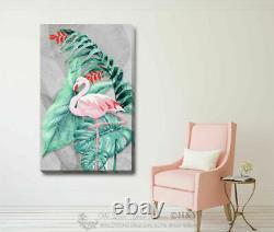Flamingo Birds Pink Canvas Print Framed Wall Art Home Office Shop Bar Decor DIY