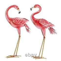 Flamingo Garden Statues and Sculptures, Metal Birds Yard Art Outdoor Statue