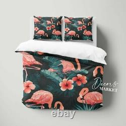 Flamingo Leaves Animals Birds Pink Doona Cover Set With Zipper And Pillow Cover