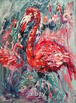 Flamingo Pink Birds Abstract Love Art Original Oil Painting Artist Svinar Oksana