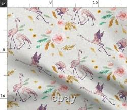 Flamingo Tropical Pink Bird Rose Floral 100% Cotton Sateen Sheet Set by Roostery
