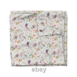 Flamingo Tropical Pink Bird Rose Floral Island Sateen Duvet Cover by Roostery